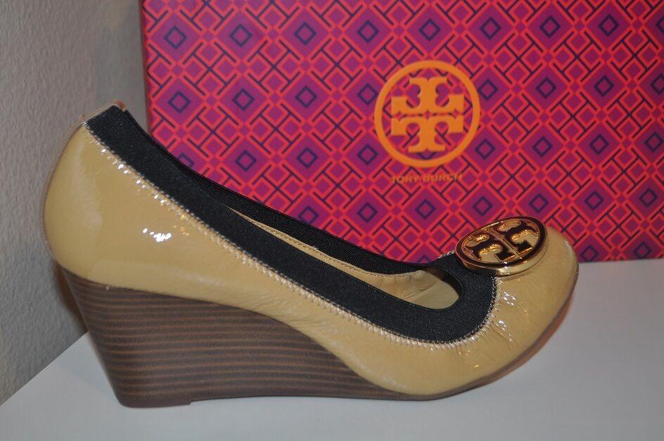 NUOVO  265 Tory Burch Caroline Dark Tan Patent Leather  Wedge scarpe Sz 9  costo effettivo