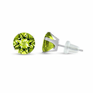 Solid-10K-White-Gold-Genuine-Olive-Green-Peridot-Round-Stud-Earrings-Choose-Size