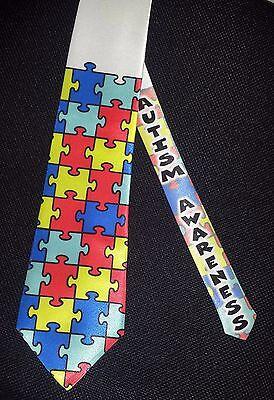 Autism Awareness puzzle tie - White satin classic tie