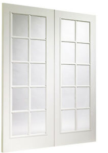XL Portobello Internal White Door Pair with Clear Glass White French Doors