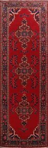 Vintage-RED-Meshkin-Traditional-Hand-knotted-Runner-Rug-Floral-Wool-Carpet-4x10