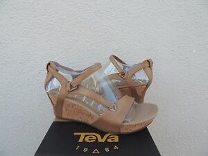 aecdab745aed Image is loading TEVA-CAPRI-WEDGE-PEARLIZED-TAN-STRAPPY-LEATHER-SANDALS-