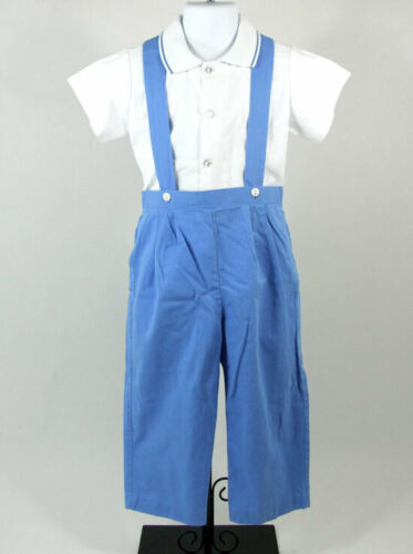 Boys Outfit Therese Light Blue Suspender Pant White Short Sleeve Shirt 2 pc 4T