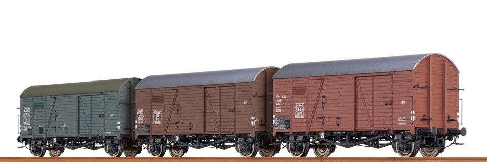 Brawa HO 45901 Wagenset 3 Ged. Güterwagen Gms30 EUROP SAAR   ÖBB   SNCF NEU OVP