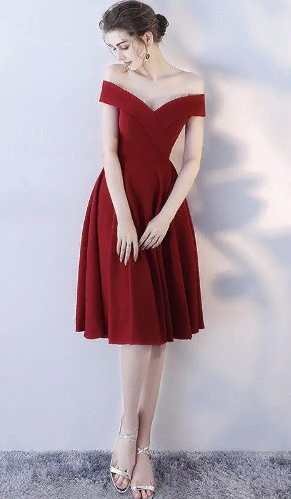 Wine Red Off The Shoulder Midi Dress