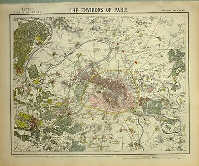 PARIS AND ENVIRONS 1870 HARPER/'S WEEKLY HISTORY MAP FORTS OF PARIS VERSAILLES