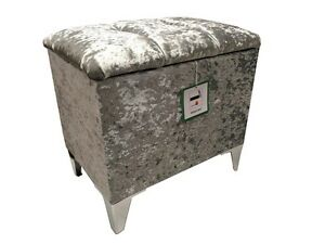 Image is loading DRESSING-TABLE-STOOL-STORAGE-IN-A-QUALITY-SILVER-  sc 1 st  eBay & DRESSING TABLE STOOL / STORAGE IN A QUALITY SILVER VELVET WITH ... islam-shia.org