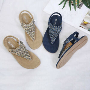abad4edddcfe81 Image is loading Summer-Women-PU-Leather-Flat-Sandals-Bohemian  Hot sale women  sandals flip flop ladies shoes fashion rhinestone sandals shoes gladiator  ...