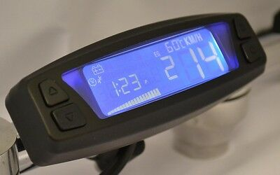 Motorcycle Digital Speedometer Speed RPM Warning Lights, speed sensor BLK Asura