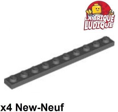 NEUF NEW dark bluish grey gray 4 x LEGO 4477 Plaque Plate 1x10 gris foncé
