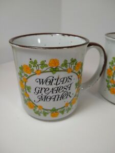 Set-of-4-Vintage-World-039-s-Greatest-Mugs-Speckled-Stoneware-Mother-039-s-Father-039-s-Day