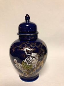 Ceramic-Porcelain-Cobalt-Blue-Urn-w-Storks-with-Gold-Trim-Japanese