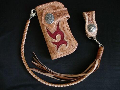 Handmade Wallet Chain Orange 8 mm Biker Chain genuine Leather Black