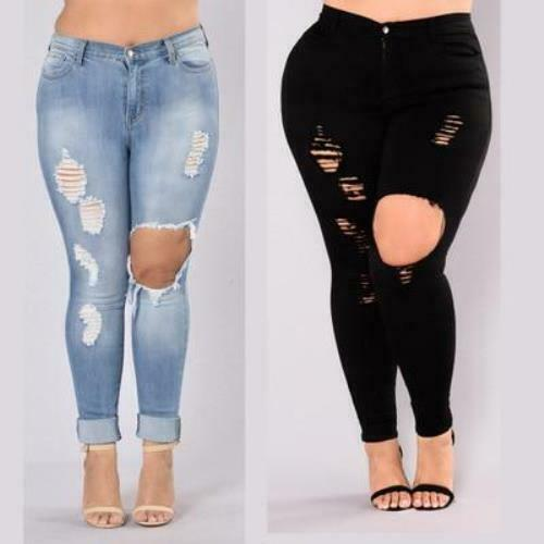 Jeans Ripped Hole Skinny Pants Plus Size