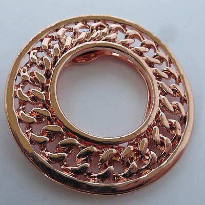 ROUND CIRCLE ROSE GOLD TONE METAL PLATTED ROPE DESIGN SCARF CLIP new gift pouch