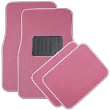 4pc Pink Deluxe Carpet Floor Mats Front & Rear Universal New Free Shipping USA