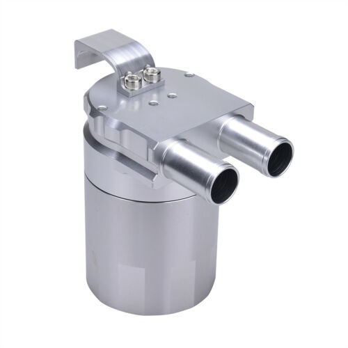 Billet Aluminum Double Baffled Oil Catch Can 19mm Barb for CHALLENGER SRT8 SILVR