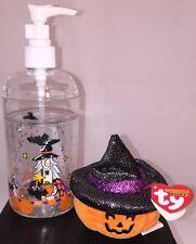 TY Halloweenie Beanie Baby SCREAM Pumpkin & Halloween Dispenser, New