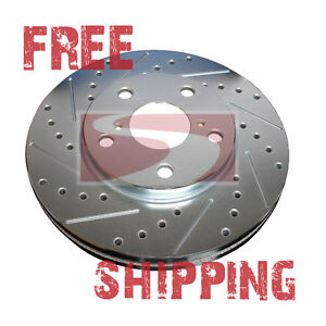 FRONT REAR SET Performance Cross Drilled Slotted Brake Disc Rotors TBS17927