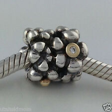 Authetic Pandora Silver &14K Kerry's Precious Diamond Daisy Charm 790317D New