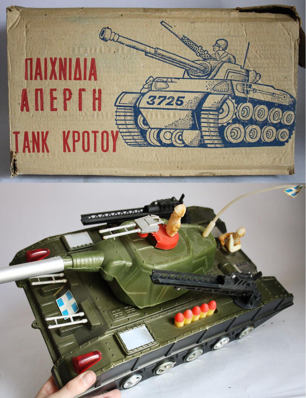 Ultra Rare Vintage años 60 tanque Tiger Joe por Apergis griego Grecia 46 cm 18 Nuevo Nos