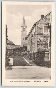 Rockport-Massachusetts-Main-Street-Vista-Shingle-House-Church-1920-B-amp-W-Albertype