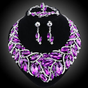 Austrian-Crystal-Party-Jewelry-Set-Statement-Pendant-Necklaces-Earrings-Ring