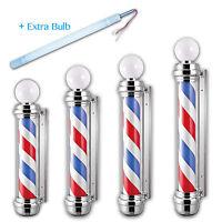 Barber Shop Pole Rotating Stripe Globe Hair Man Cave Salon Sign Extra Light Bulb