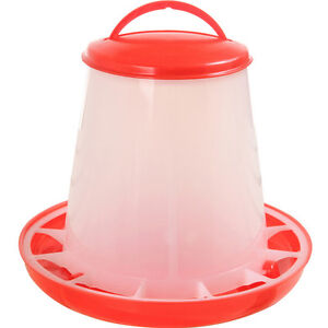 1.5kg Red Plastic Feeder Baby Chicken Chicks Hen Poultry Feeder Lid & Handle HF