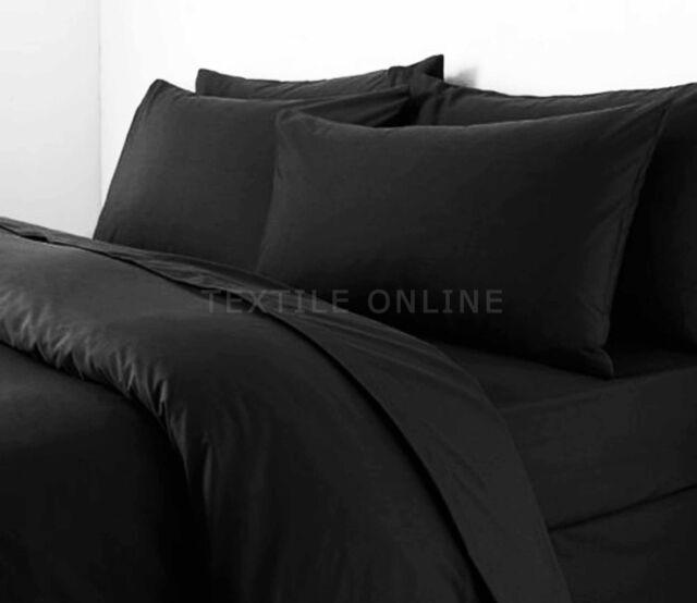Plain Duvet Cover with Pillow Case Quilt Cover Bed Set Single Double & King Size