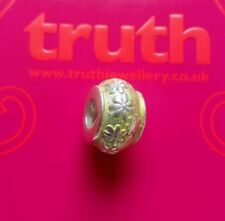 Genuine TRUTH sterling silver PK 925 yellow enamel floral bracelet charm bead