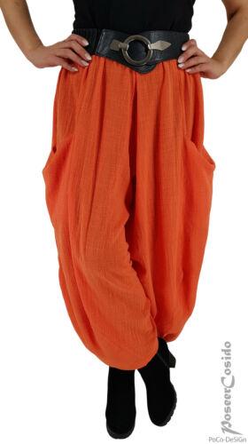 PoCo LAGENLOOK Ballon-Hose Leinen Optik orange L-XL-XXL-XXXL 46 48 50 52 54 56