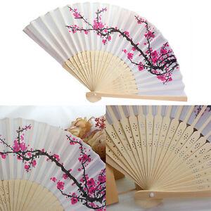 Eventail-Motif-Prunier-Fleur-Pliant-Bois-Decor-Danse-Mariage-ete-Portable-Cadeau