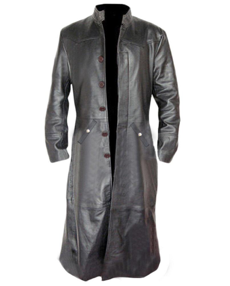 Herren Trenchcoat Echt Schwarzes Leder Gotik Matrix Steampunk Gothic Van Helsing
