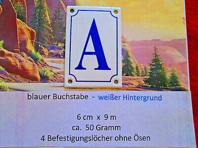 A Emaille Haus Nr. Zusatz Blauer Buchstabe Weißer Hintergrund 6cm X 9cm Anr.13
