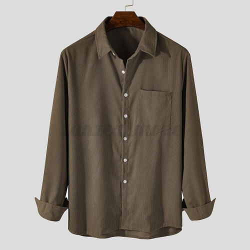 Fashion Corduroy Mens Long Sleeve Dress Shirts Casual Formal Slim Fit Shirt Tops