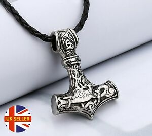 Viking-Thor-039-s-Hammer-Silver-Mjolnir-Amulet-Faux-Leather-Protect-Pendant-Necklace
