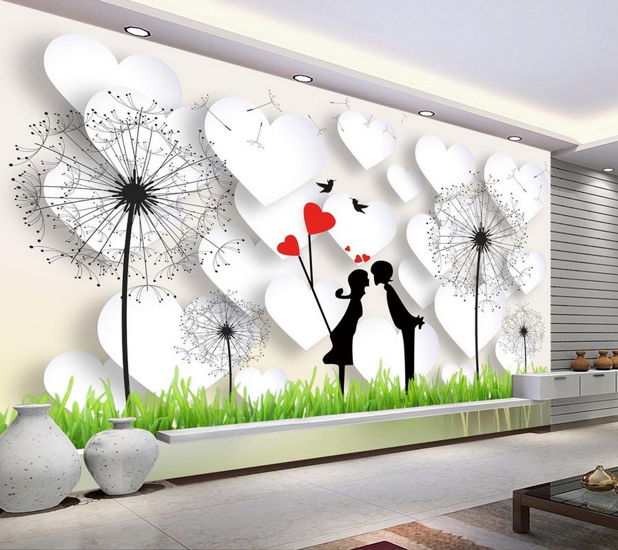 3D Lovers Dandelion Lawn 97 Wallpaper Mural Paper Wall Print Wallpaper Murals UK