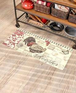 Details about French Country Rooster Kitchen Runner Barn Farm Butterfly  Floral Kitchen Rug