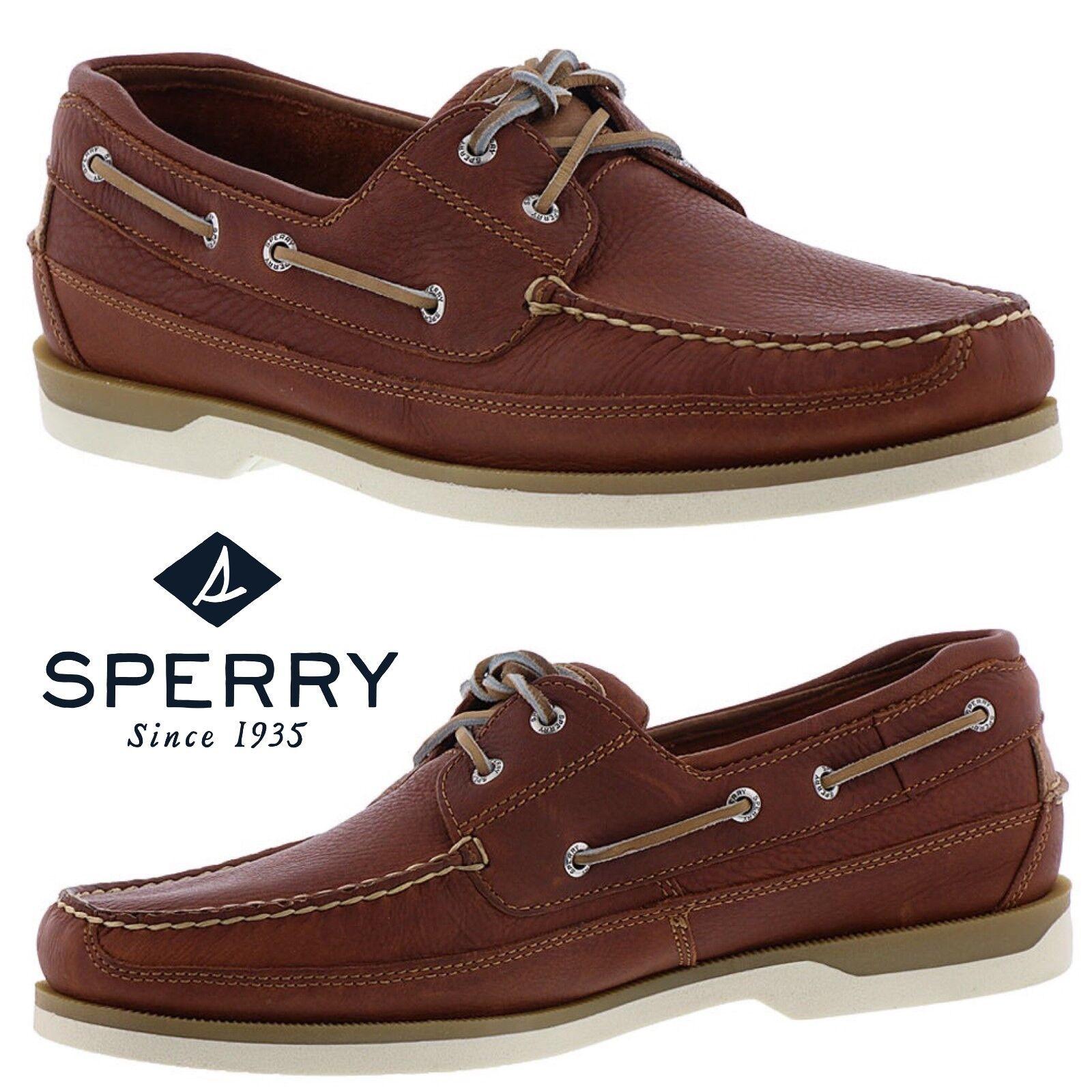 Scarpe casual da uomo  Sperry Top-Sider Mako 2-Eye Canoe Moc Shoes Work Comfort Leather Walking NWB
