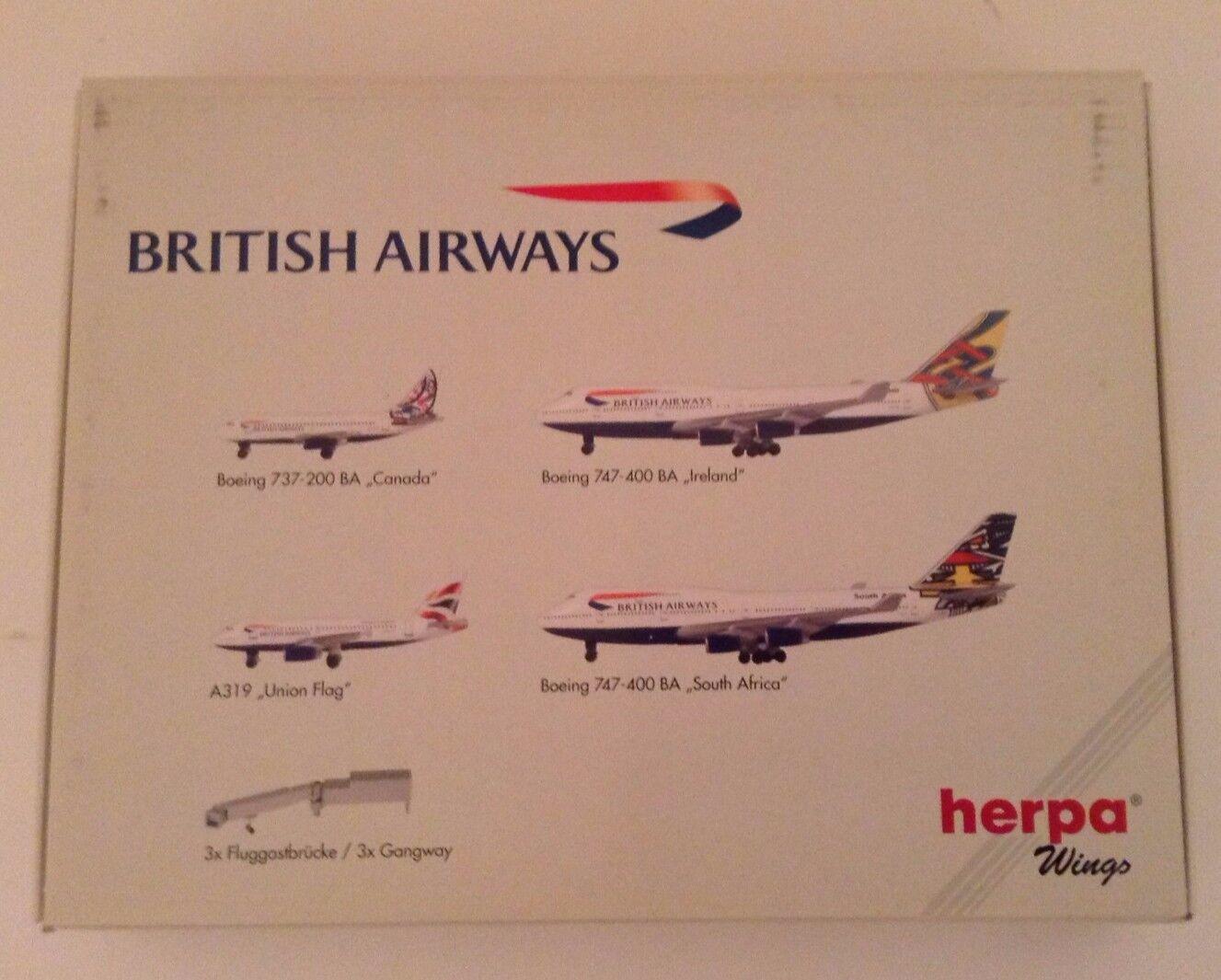 Raro Herpa Wings Edición limitada conjunto de British Airways