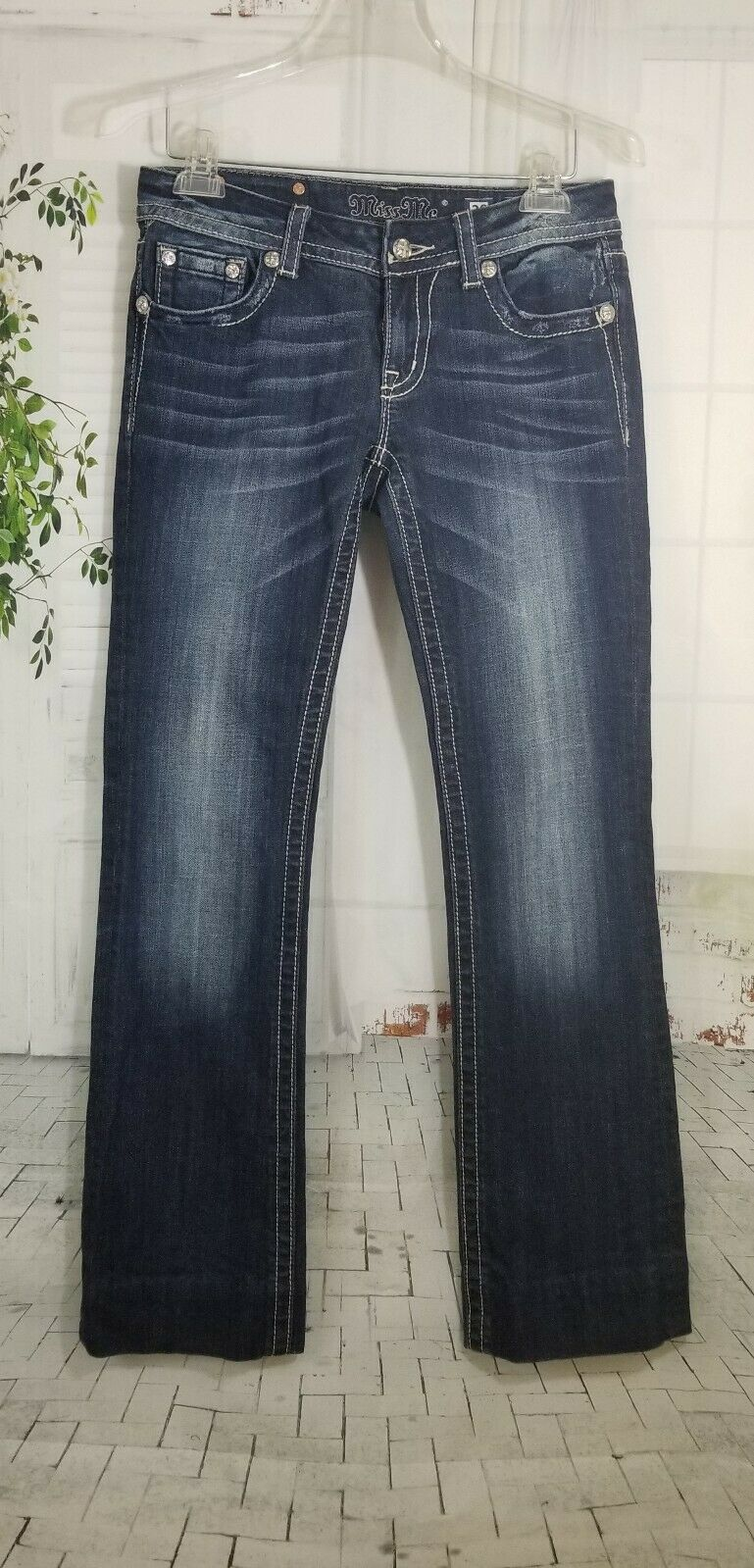 Miss Me embellished jeans women's size 30 bluee distressed bootcut low rise