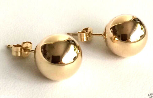 9CT HALLMARKED YELLOW GOLD POLISHED BALL STUD EARRINGS 3MM TO 10MM DIAMETER