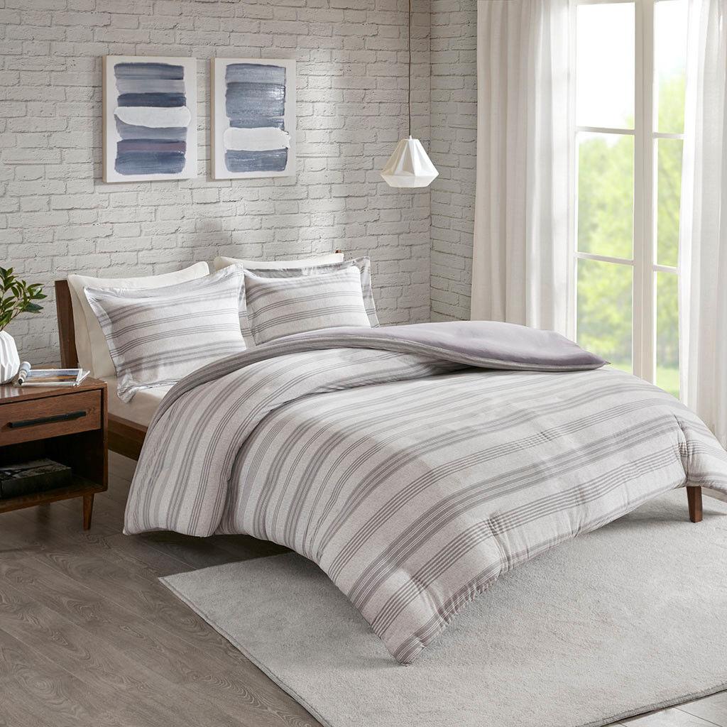 Soft Cotton Blend Navy Grey Stripes Jersey Duvet Cal King Queen 3 pcs Set