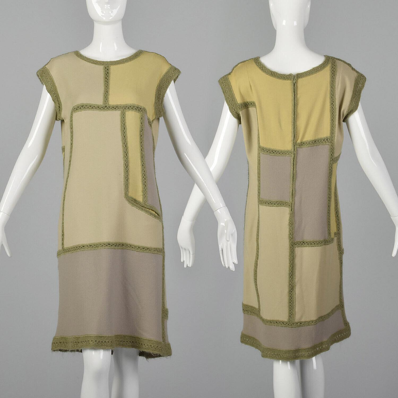 XS 1960s Vintage vestido  de Color bloque bohemio de punto Vintage 60s Sin Mangas Hippie Boho  autorización oficial