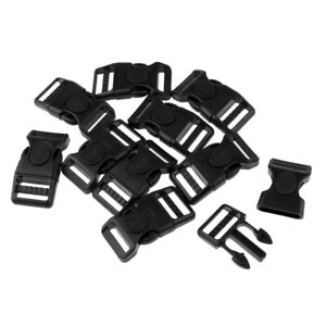 10 Pieces Plastic Black Curved Buckles Side Release for Paracord Bracelet - 25mm