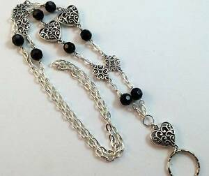 Silver-Hearts-and-Black-Lanyard-Beaded-Chain-Badge-ID-Holder-Breakaway-Opt