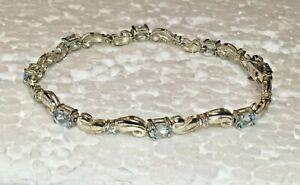 Vtg-HAN-Solid-Sterling-Silver-Blue-Stone-TENNIS-BRACELET-7-5-in-034-Link-925-Love