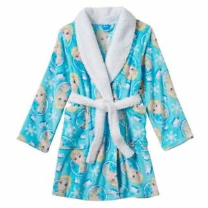 New Disney's Frozen Elsa Girls Blue Bath Robe Size 6