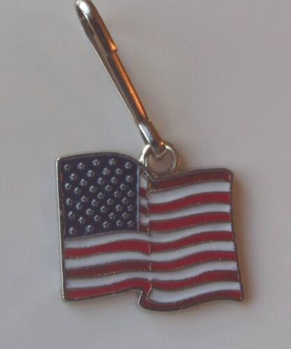 Pendant USA Flag Charm  Zipper Pull Clip On Charm Backpack Purse Bag